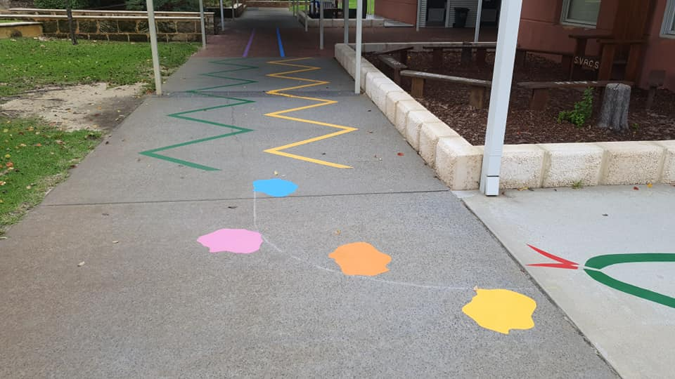 Lines painted for a school