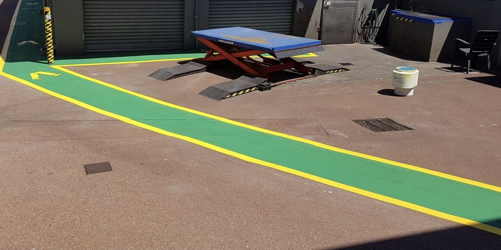 Painted walkways to keep staff and customers safe