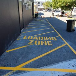 Loading zone lines painted for a commercial industrial premise
